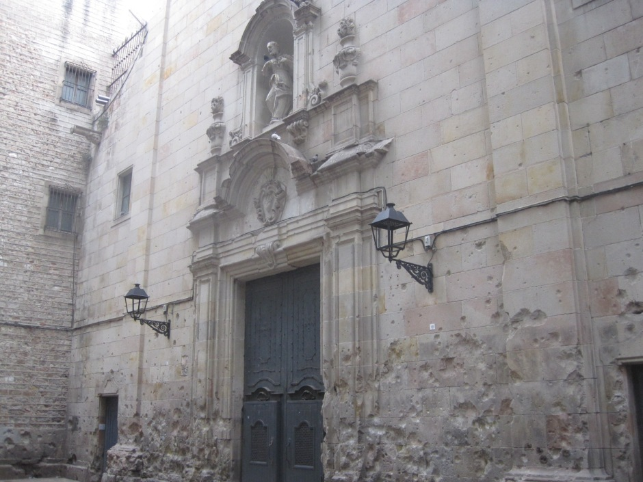 The battered church walls in a peaceful space.