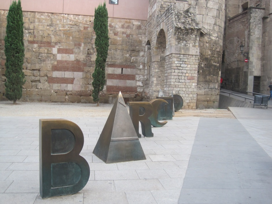 The letters spell Barcino, the Roman name for Barcelona