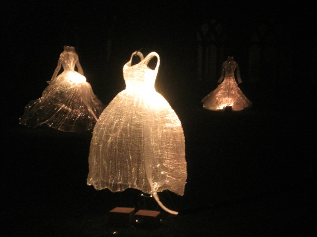 The frocks shimmered in the dark and then began to change colour