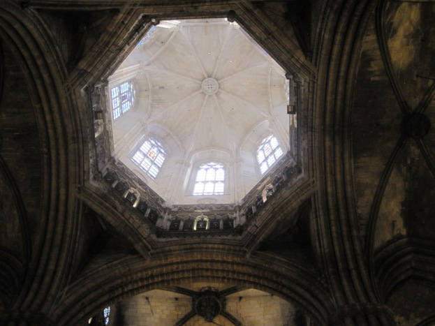 Looking up into Barcelona Cathedral