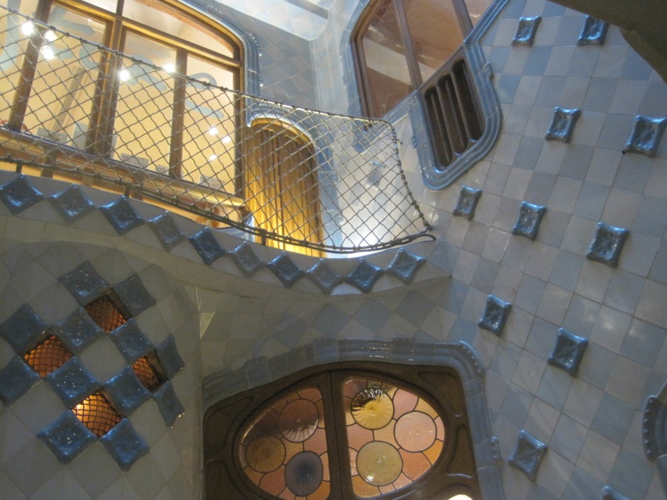 The stairwell at Casa Batllo- a vision in blue