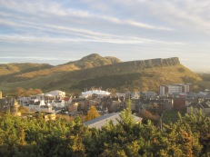 Across the Scottish Parliament buildings to Arthur's Seat.