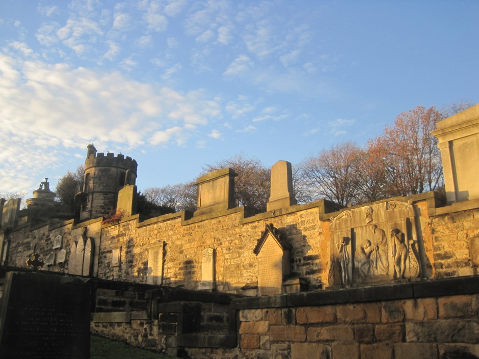 Over on Calton Hill I looked up at sunkissed tombstones