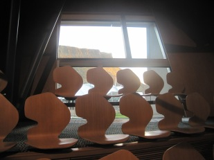 The shapely seating in the Debating Chamber