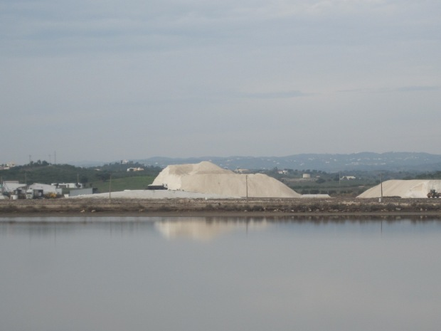 A salt mountain, carefully harvested.