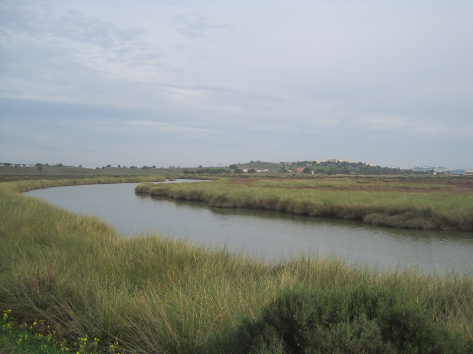 In the distance, across the river, the hilltop fortress of Castro Marim