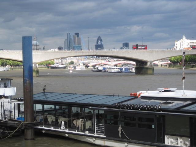London's Waterloo Bridge from the ferry terminal