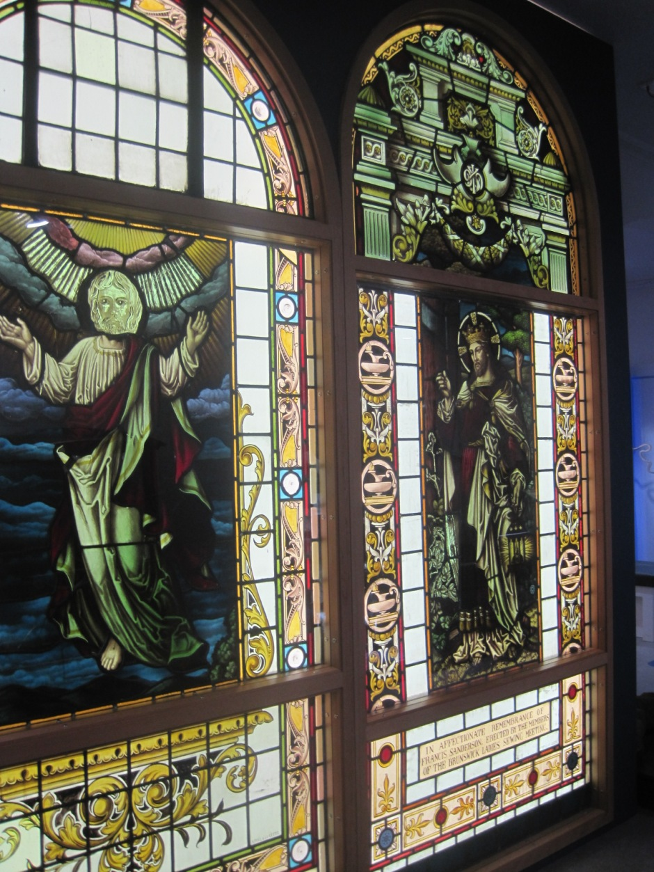 This stained glass is from a former Methodist church in Stockton