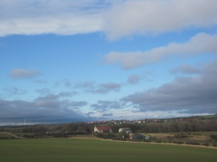Easington village straggles away in the distance