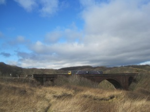 As the train rattles over the viaduct