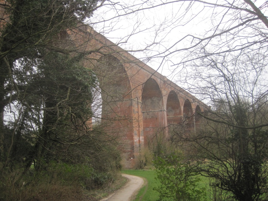 Leaving the Dene from beneath the viaduct
