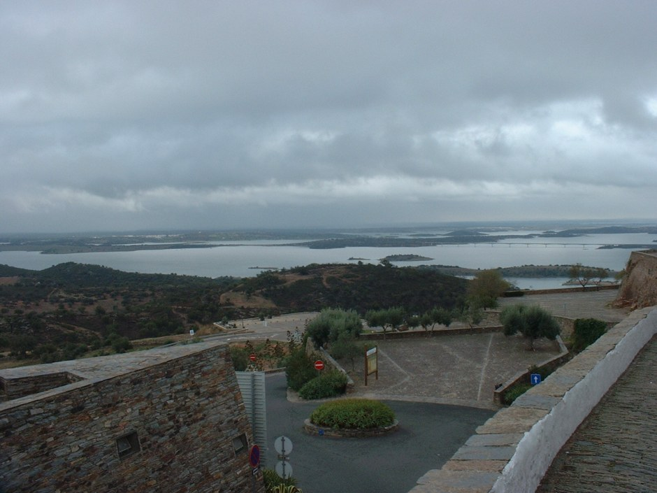 Looking out from beneath the town walls, across the Guadiana
