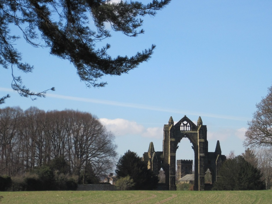 And there's the priory, across a field