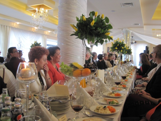 One of 3 tables at the 'wesele' or reception