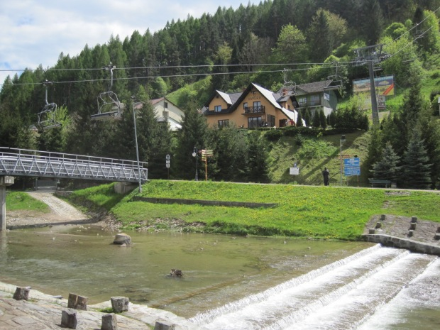 Ok- so from the chair lift we're going to walk alongside the river