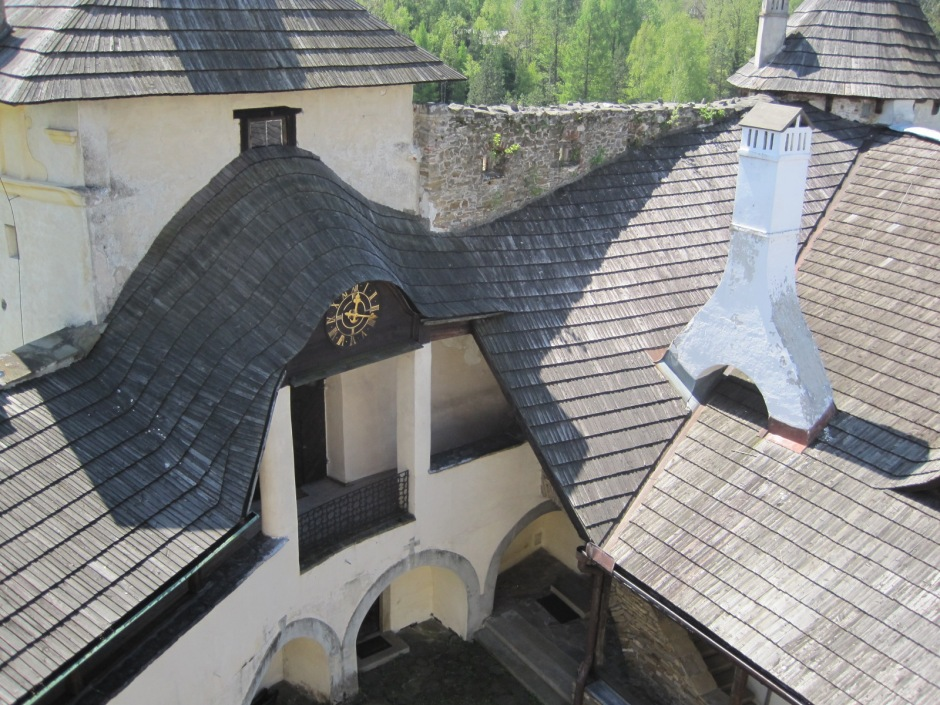 Looking down on the curvaceous roofs