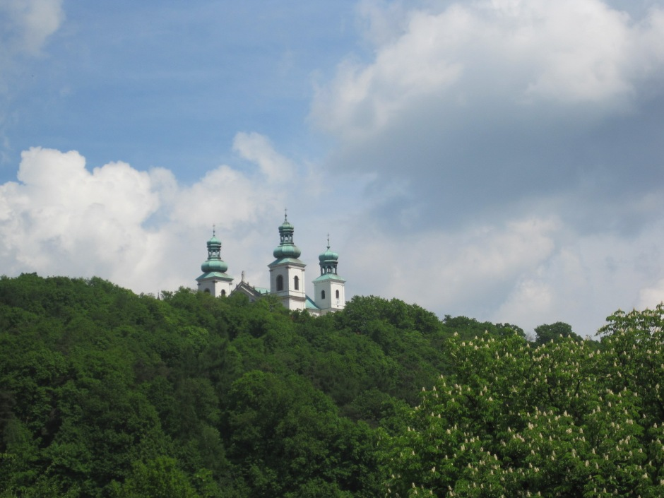 The spires of Bielany above the tree line