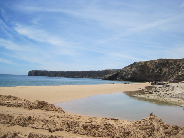 The town beach at Sagres, with the Fortaleza in the distance