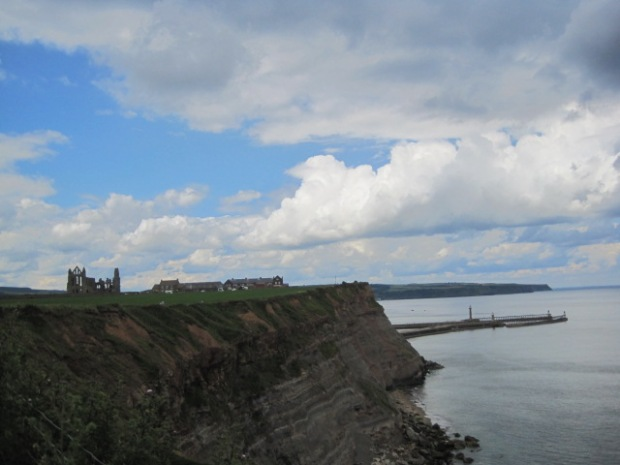 And out on the cliff top, look back at Whitby Abbey