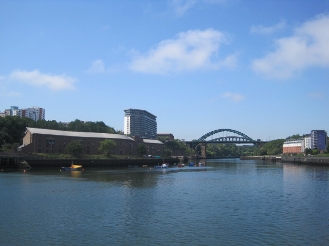 We're walking towards the bridge over the River Wear