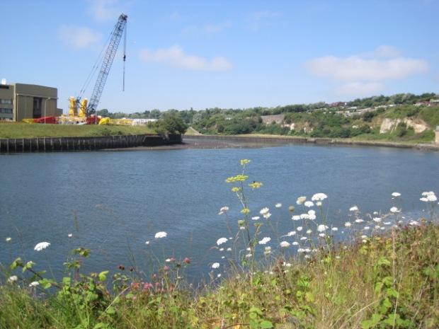 On the far shore, a crane building factory