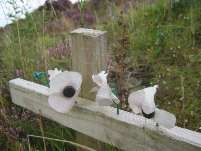 A memorial beside the path