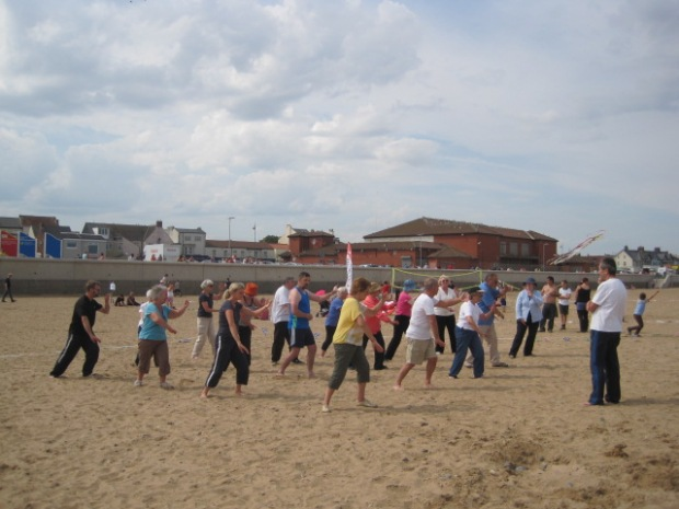 Meanwhile my t'ai chi group 'worked the beach'