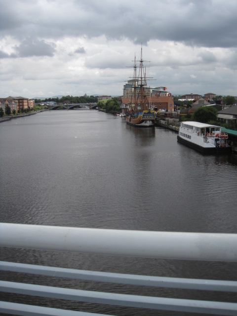 Looking back at the boats and Thornaby railway bridge