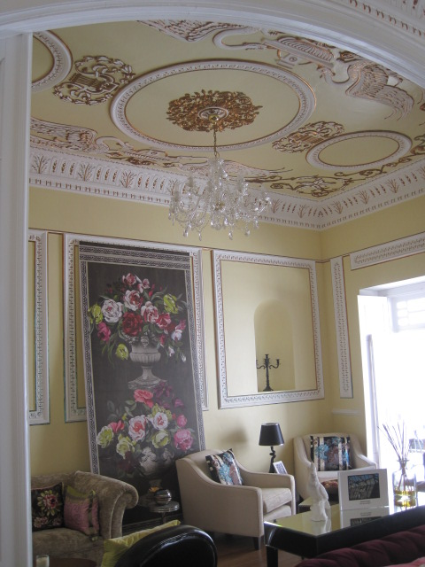The lounge with its extraordinary ceiling