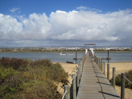 Looking back towards Tavira as the ferry departs