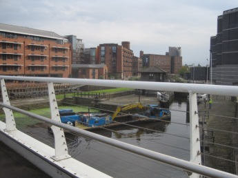 Pausing to watch the dredger negotiate the lock