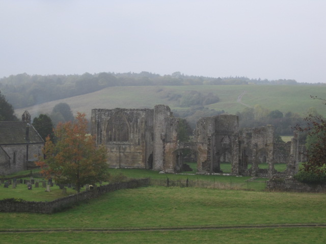 Easby Abbey, ghostly in the mist