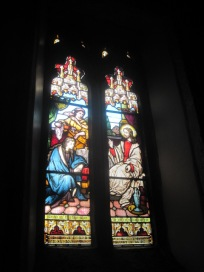 With traditional stained glass windows