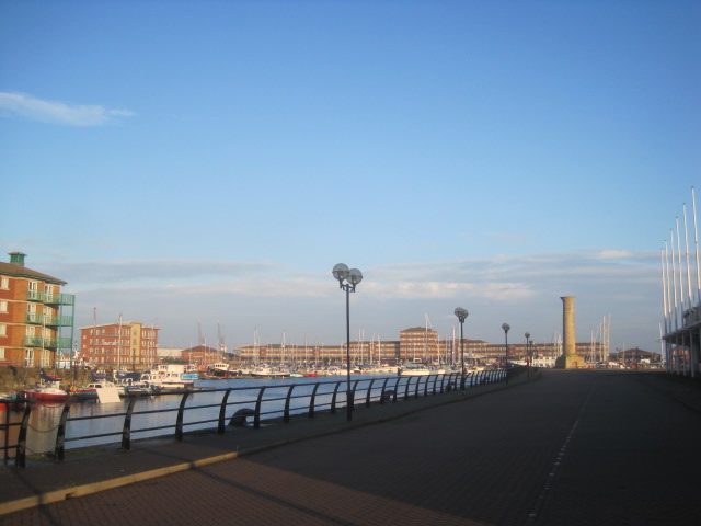 Shadows lengthen in Hartlepool marina