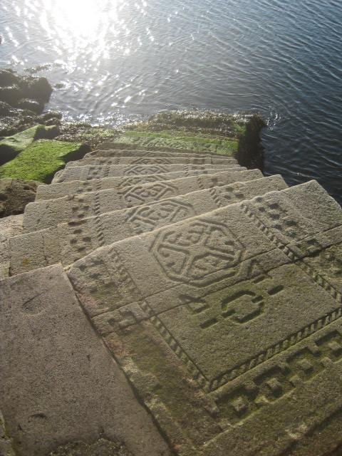Interesting Celtic design on the steps