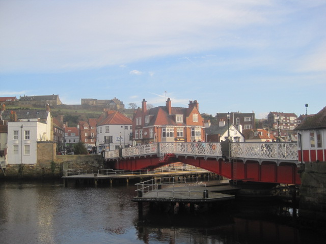 The Swing Bridge spans the River Esk