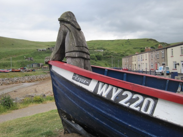 The coble, facing out to sea