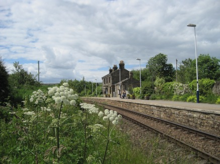 The railway station, high above the village