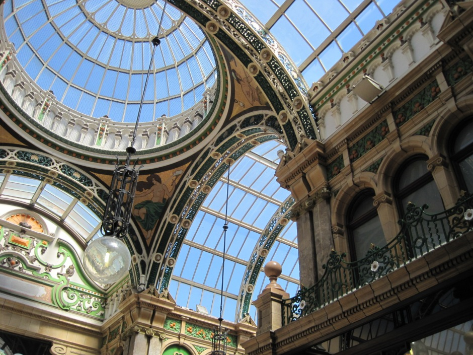 The breathtaking ceiling in the Victoria Quarter