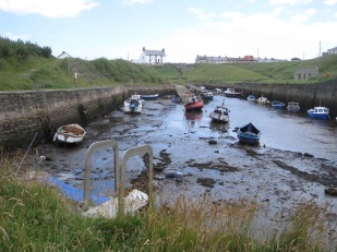 The boats are stranded in the harbour