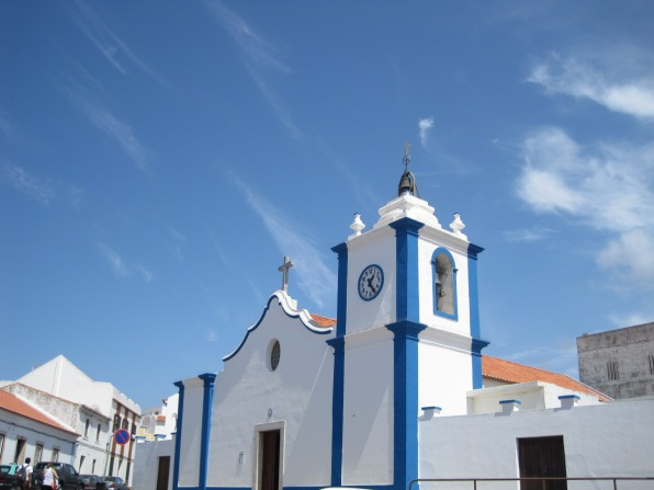 The church, in blue and white