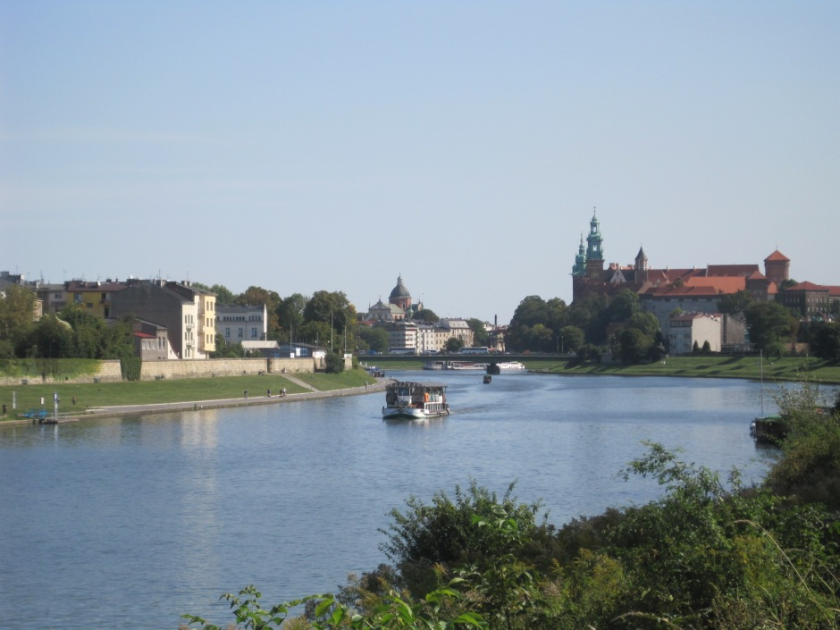 The river bank with Debnicki Bridge and Wawel in the background