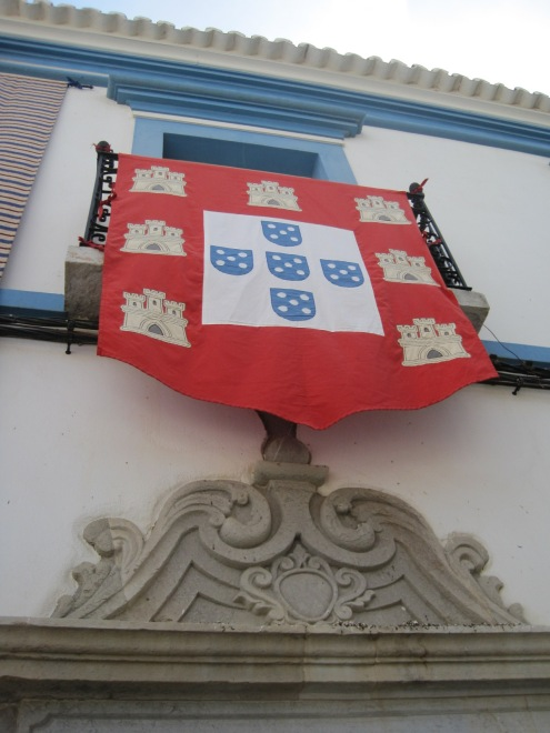 The town banner proudly displayed
