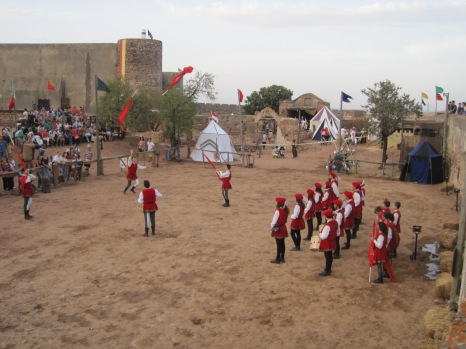 A display of flag throwing takes place