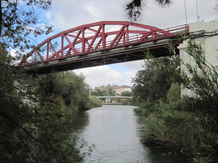 Under the red road bridge
