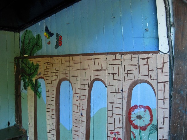 Delight in a child's painted aqueduct