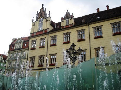 Fountains in Wroclaw's main square
