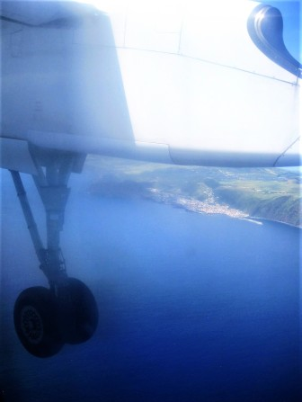 A hazy shot, flying over Velas on São Jorge