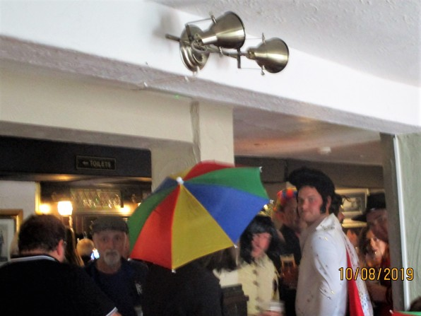 Into the nearest pub, who should we meet but Elvis!