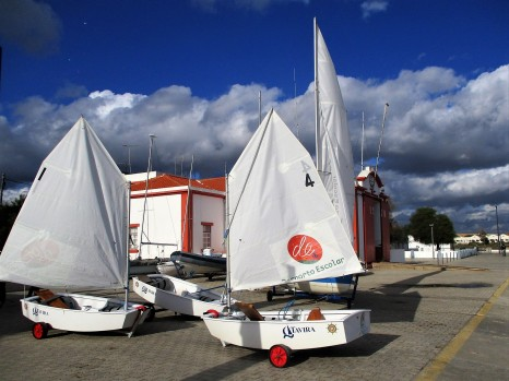 On dry land, the sailing dinghies are ready